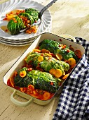 Savoy cabbage roulade filled with Hokkaido pumpkin and sweet potatoes