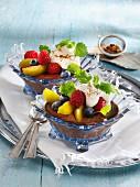 Carob cream with fresh fruits
