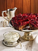 Spelt and carob cake with cherries
