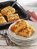 Butter cake tray bake with slivered almonds