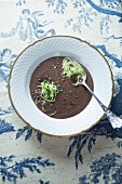 Black pudding soup with pointed cabbage