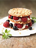 Mille feuilles with hazelnuts, berries and woodruff