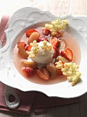 Elderflower sorbet with fried elderflowers, rhubarb and strawberries