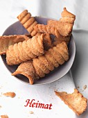Spagatkrapfen (deep-fried crispy wafers from Austria) with cinnamon sugar