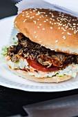 A pulled pork burger