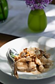 Gnocchi with a Gorgonzola and walnut sauce
