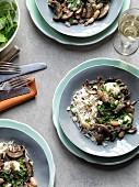 Portobello ragout with cannellini beans and mozzarella served with rice
