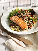 Wild rice salad with salmon