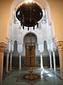 And interior view of the Mausoleum of Moulay Ismail, the burial site of the despotic ruler of Meknes, Morocco