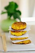 Kohlrabi and quark cakes with sesame seeds