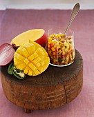 Mango salsa with red onions, sweetcorn and jalapeños