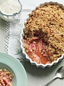 Rhubarb crumble with nuts and oats