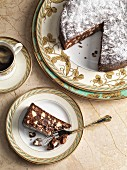 Chocolate cake with nuts and figs