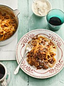 Pappardelle with bolognese sauce