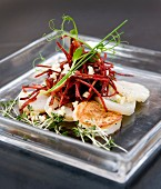 Carpaccio of scallops with a beetroot salad