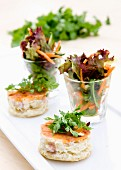 Mini quiches served with mixed leaf salad