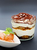 Tiramisu with glazed blood oranges