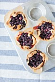 Blueberry tarts in a baking tin