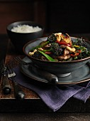 Stir-fried beef with vegetables, cashew nuts and chilli