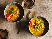 Lentil soup with curry and coriander