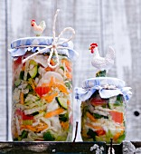 Jars of lactofermented pickled vegetables