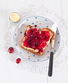Raisin bread with cranberry jam