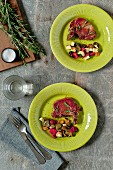 Pork chops with rosemary and vegetables