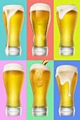 Composing von sechs Biergläsern vor farbigen Hintergründen
