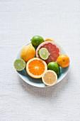 A bowl of citrus fruits