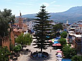 A view of Uta el-Hammam square in Chefchaouen, Morocco