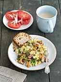 Scrambled eggs with mixed wild mushrooms