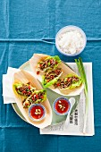 Lettuce wraps with minced beef and red peppers