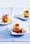Baked apples with ginger on parchment paper