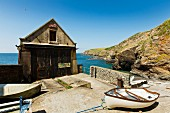 A boathouse at Lizard Point, the southernmost point of England in Cornwall