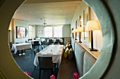 The dining room in the Nathan Outlaw restaurant in Rock (Cornwall, England)
