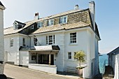 An exterior view of The Idle Rock hotel in St. Mawes (Cornwall, England)
