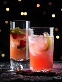 Fruit cocktails with strawberries and limes