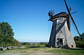 A Dutch windmill in Benz with a view of the Schmollensee lake, Usedom