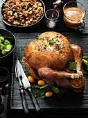 Roast turkey with a chorizo, sour cherry and chestnut stuffing