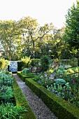 Rabatten mit niedrigen Hecken und blühende Blumen in angelegtem Garten