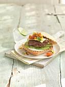 Ciabatta burger with cheese and avocado