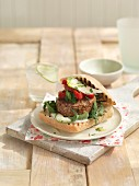 Ciabatta burger with mozzarella and rocket