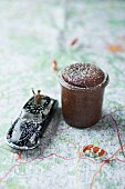 A chocolate soufflé on a map