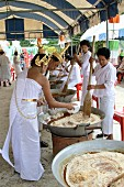 The traditional way of making Thai sweet rice