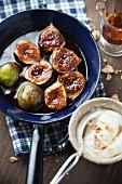 Caramelised figs with almond yogurt