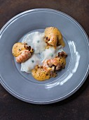 Kohlrabi ravioli with crayfish