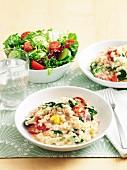 Ham, spinach and tomato risotto