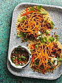 Tacos with beef and crispy sweet potatoes