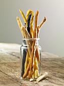 A jar of breadsticks
