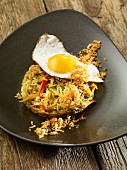 Fried vegetables rice with fried egg